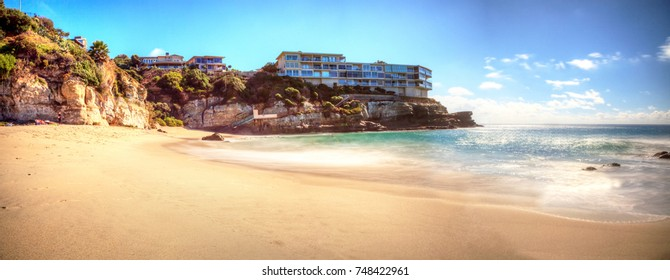 Blue sky over West Street Beach in Laguna Beach, California on a sunny day