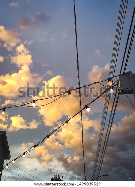 Blue Sky Pink Orange Clouds Aesthetic Stock Photo Edit Now