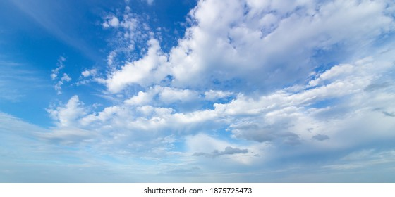 Blue sky and puffy clouds background