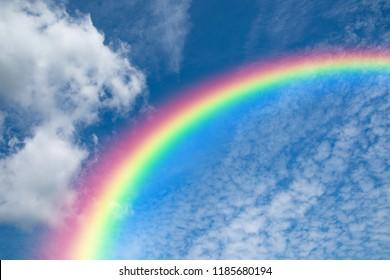 Blue sky and rainbow background