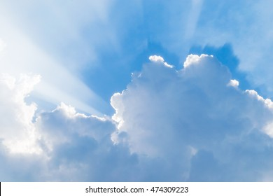 blue sky with rays after raining. Rays appearing with cloud burst