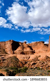 Blue sky and red rocks at Arches National Park.