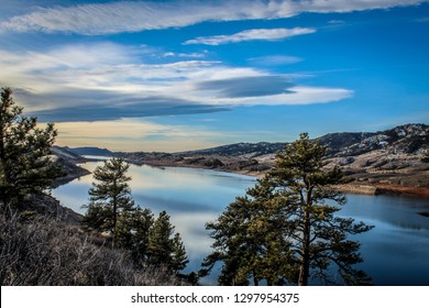 Blue sky reflecting off of Horsetooth Reservoir in Colorado Rocky Mountain Foothills outside of Fort Collins