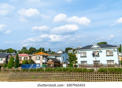 The blue sky of a residential area in the suburbs of Tokyo