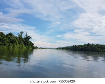 Blue sky and river background