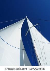 Blue sky and sails. Ride on a catamaran on the Atlantic ocean. Ile d'Oléron, France.