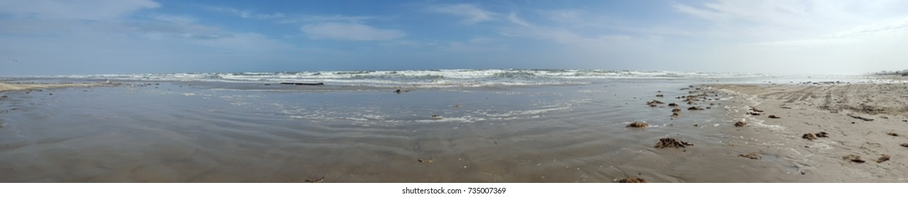 Blue Sky and sea with beach sand panorama