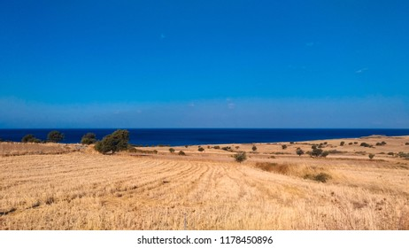 Blue Sky, Sea and Field. Island of Samothrace, Greece.