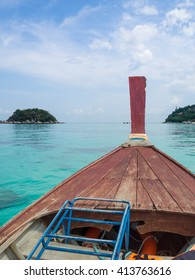 Blue sky and sea on the boat,Emerald sea,Very clear water,you can sea are coral under the sea,Traveling long boat,scuba boat,summer at Andaman sea,,Lipe island,Koh Lipe Stul Thailand. - Shutterstock ID 413763616