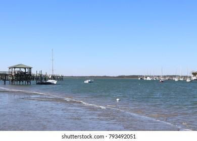 Blue Sky Seaside Scene
