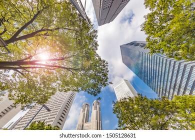 Blue sky and Shinjuku skyscrapers/Shinjuku is the prefectural capital of Tokyo