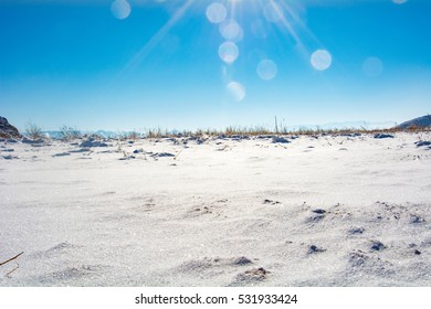 blue sky and snowfield