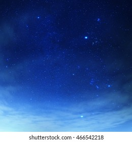 Blue sky with stars and layer of thin clouds