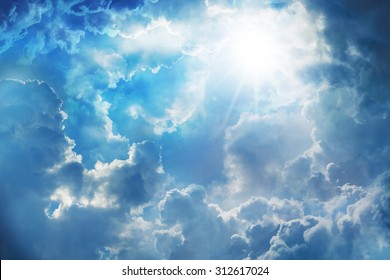 blue sky with sun and beautiful clouds,on the heaven.