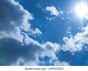 Blue sky, the sun illuminates the clouds.