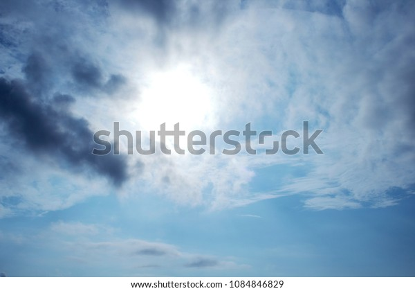 blue sky with sunlight