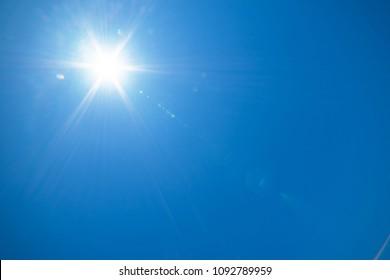 Blue sky with sunny sun .