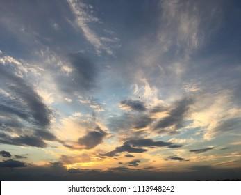 Blue sky sunset