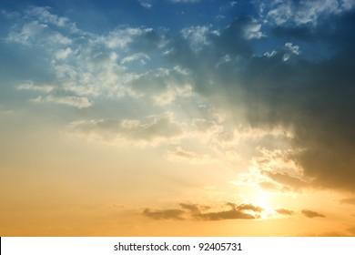 Blue sky in sunset