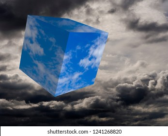 Blue sky and sunshine arriving. Fun weather concept, cube of blue against stormy skies. Surreal image.