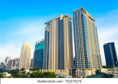 Blue sky tall building