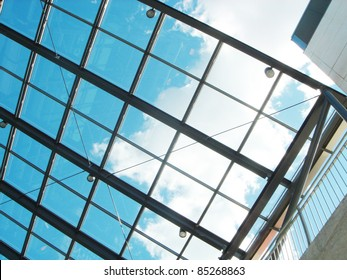 The blue sky through a glass ceiling