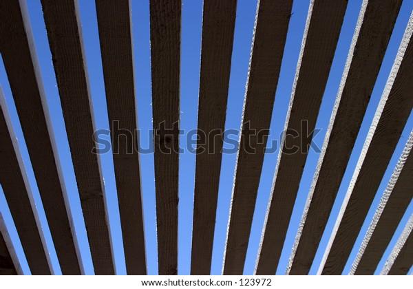blue sky through a patio celing