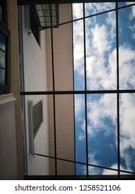 Blue sky through the translucent roof