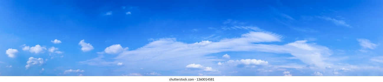 Blue sky with tiny clouds.Panorama