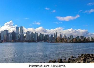 blue sky Vancouver skyline