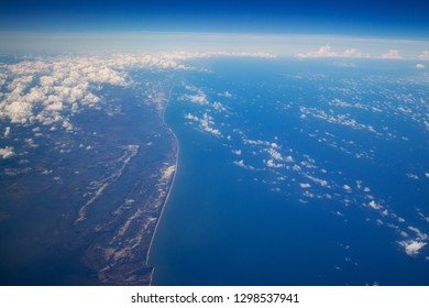 Blue sky view Cloudy Pacific Ocean Take from airplane at Vietnam