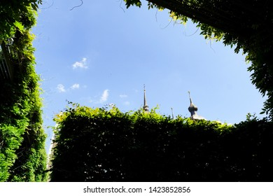 Blue sky view, public park of the Abbey Kamp, Germany