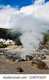 Blue Sky Volcano Caldera Hot Springs Fumarole Smoke in Furnas, Sao Miguel, Azores, Portugal