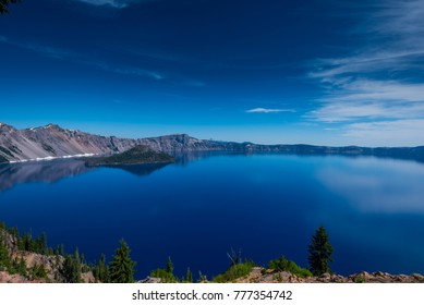 Blue Sky and Blue Water at Crater Lake National Park in late summer