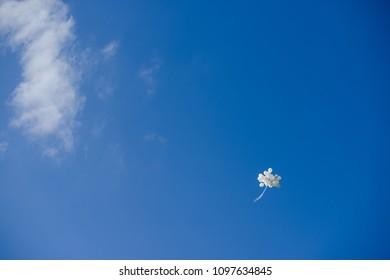 Blue sky, white balon