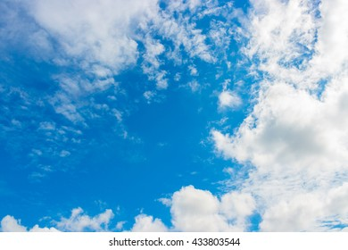 Blue sky and white cloud against the sun. For abstract background or insert text copy space.