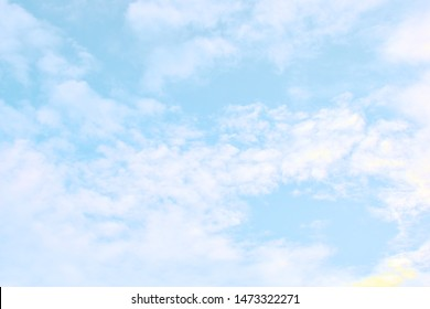 Blue sky with white cloud. Beautiful sky background and wallpaper. Clear day and good weather in the morning.