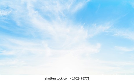 Blue sky with white cloud. Beautiful sky background and wallpaper. Clear day and good weather in the evening. bright,Thailand-Malaysia border.