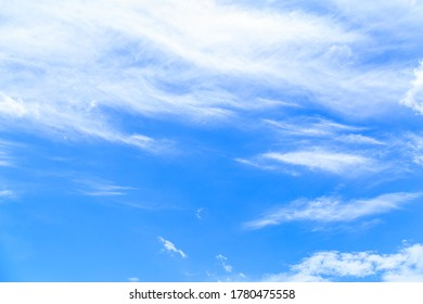Blue sky and white cloud beautiful in summer. Good weather day background. Horizon picture with copy space.