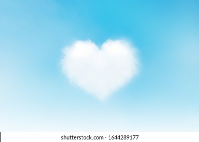 Blue sky with white cloud. Heart in the sky White clouds form the heart. On the day of love, good luck Valentine's day, happiness and fulfillment with those who love forever. Miracles from God.