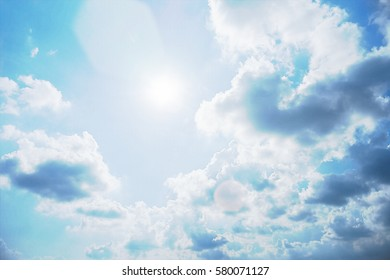 Blue sky and white cloud. Sunny day.Cloudscape.close up the cloud. comic halftone picture style process