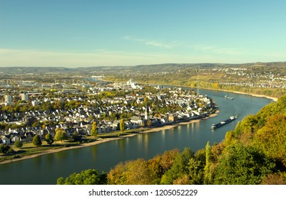 Blue sky and white clouds above Linz city and Rhine river. Germany