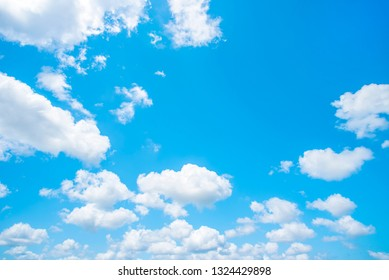 blue sky and white clouds. Freshness of the new day. Bright blue background. Relaxing feeling like being in the sky.