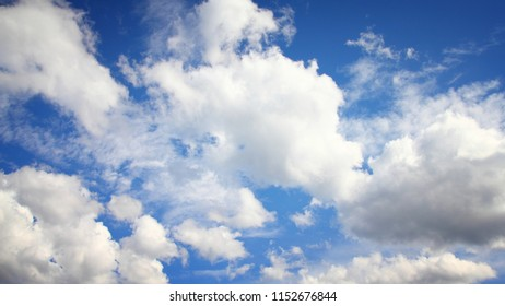 Blue sky and white clouds. Idyllic background abstract.