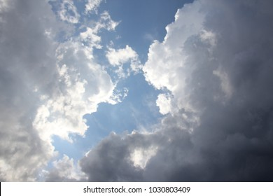 Blue sky, white clouds and sun.
