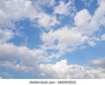 Blue sky with white clouds in sunny day, background nature sky.