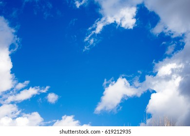 Blue sky with white clouds in sunny spring day