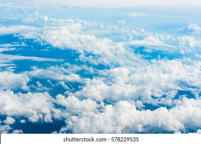 Blue sky and white clouds view from the airplane,top view
