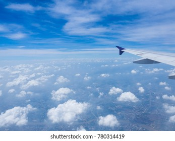 Blue sky with white clouds.blue sky background with tiny clouds