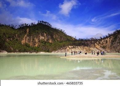blue sky at white crater. white crater is a tourist place in Bandung West Java